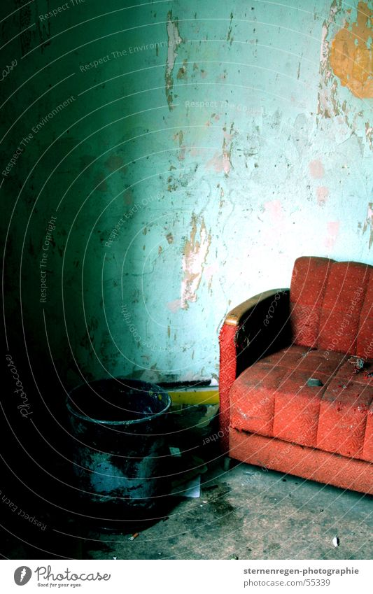 red Sofa Broken Interior shot Furniture Dismantling Devastated Turquoise Destruction Decline Time Old cross