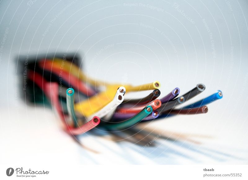 tangled cables Red White Yellow Green Black Adapter Terminal connector Blur Muddled Depth of field Cable Blue car radio wiring harness cable adapter