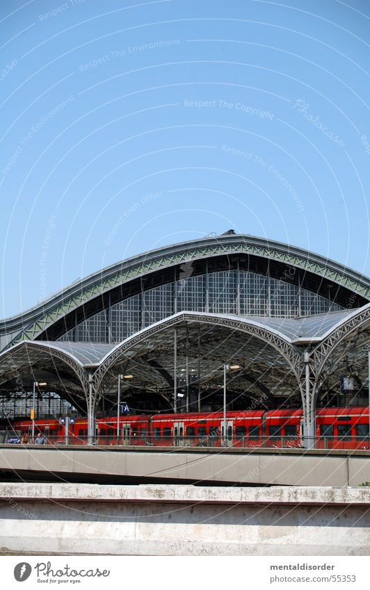 Sky Red Vacation & Travel Glass Railroad Driving Railroad tracks Cologne Steel Train station Warehouse Column Rivet Carrier