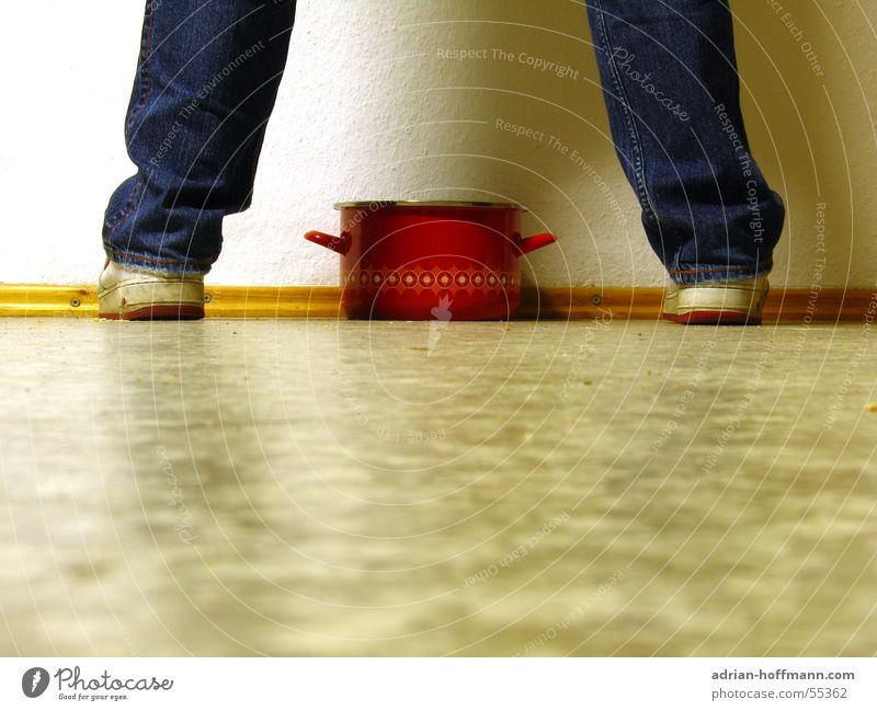 The pot Pot Red Wall (building) White Linoleum Sneakers Footwear Pants Retro Wallpaper Stand Floor covering Legs Feet Jeans