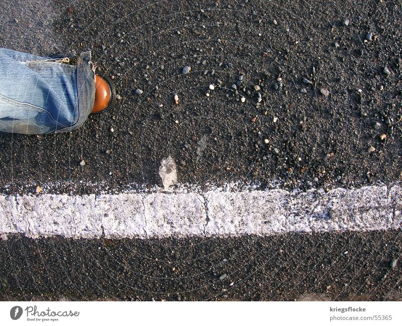 with the road Legs Street Lanes & trails Jeans Footwear Stripe Future Pebble Direct Stride Colour photo Exterior shot Copy Space right Bird's-eye view Going