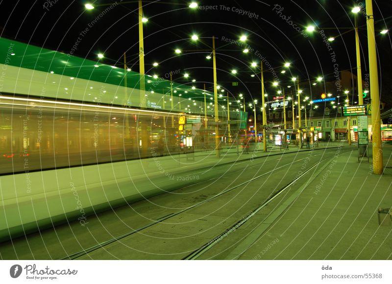 movement #1 Long exposure Light Tram Driving Railroad tracks Jakominiplatz Graz Night Movement Lighting Lamp
