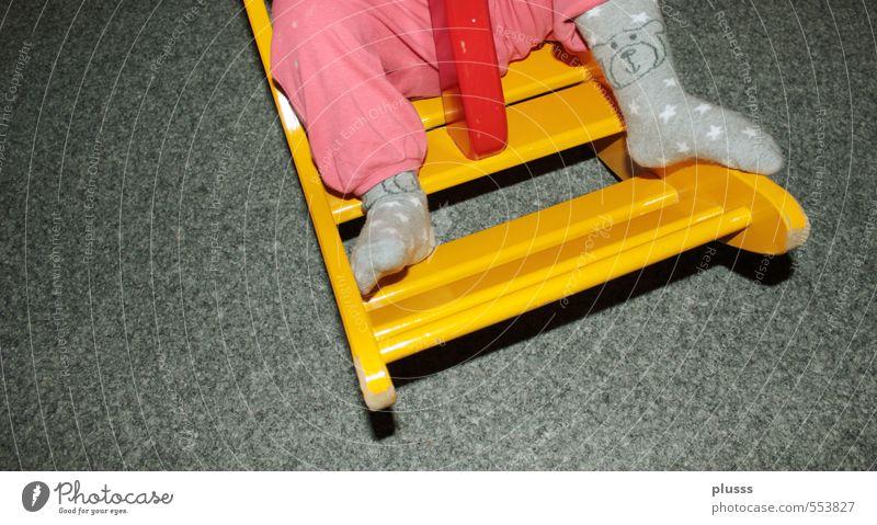 Human being Girl Yellow Feminine Playing Legs Feet Infancy Toys Pants Toddler Kindergarten Swing To swing Manger Seesaw