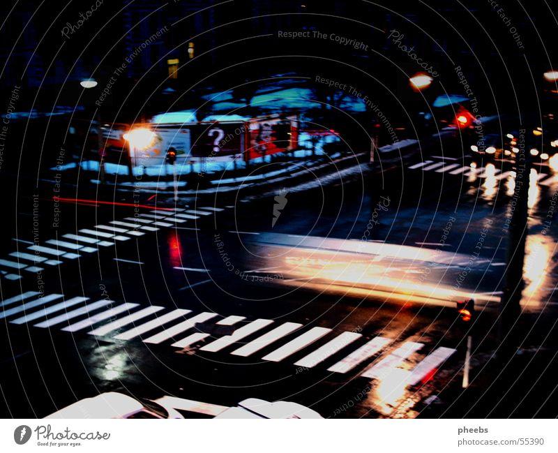 car vs. traffic light Zebra crossing Billboard Traffic light Speed Long exposure Dark Night Mixture Street Light Car vehicles Evening Floodlight Exterior shot