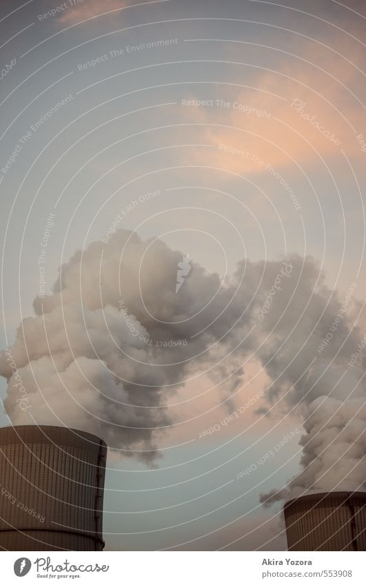 Sky Blue Clouds Gray Orange Climate Touch Factory Chimney Exhaust gas