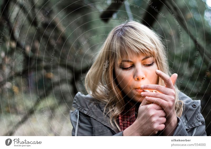 out of it Smoking Human being Feminine Young woman Youth (Young adults) Life Head Hand 1 18 - 30 years Adults Fire Autumn Forest Blonde Bangs Cool (slang)