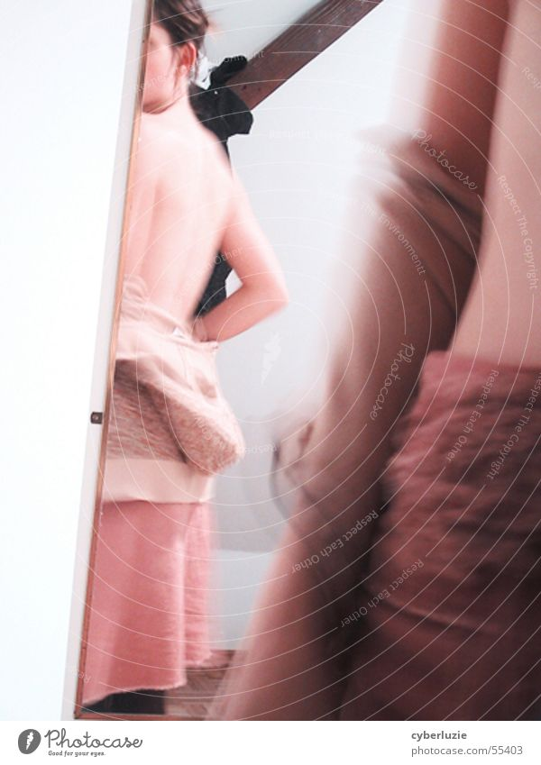 Mirror, mirror Woman Pink Wood Wall (building) White Rotation Joint Back Skin