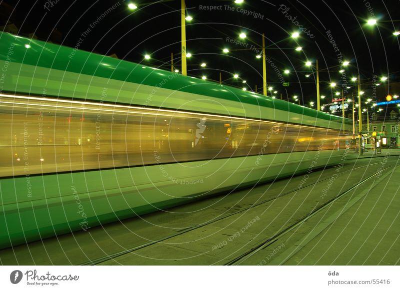 movement #2 Long exposure Light Tram Driving Railroad tracks Jakominiplatz Graz Night Movement Lighting Lamp