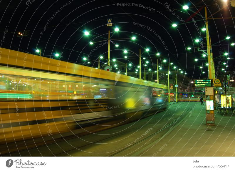 movement #3 Long exposure Light Tram Driving Railroad tracks Jakominiplatz Graz Night Movement Lighting Lamp