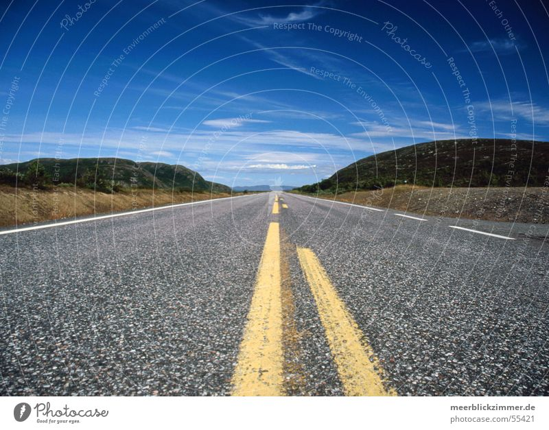 Sky Blue Clouds Far-off places Street Mountain Line Perspective Asphalt Traffic infrastructure Right ahead