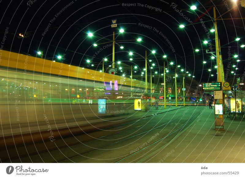 movement #4 Long exposure Light Tram Driving Railroad tracks Jakominiplatz Graz Night Movement Lighting Lamp