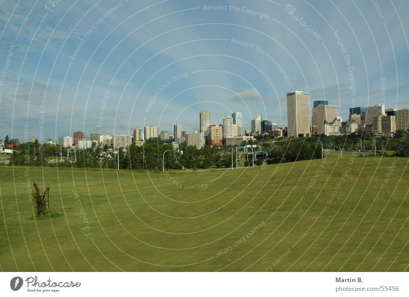 Edmonton Skyline Canada Alberta Green Lawn