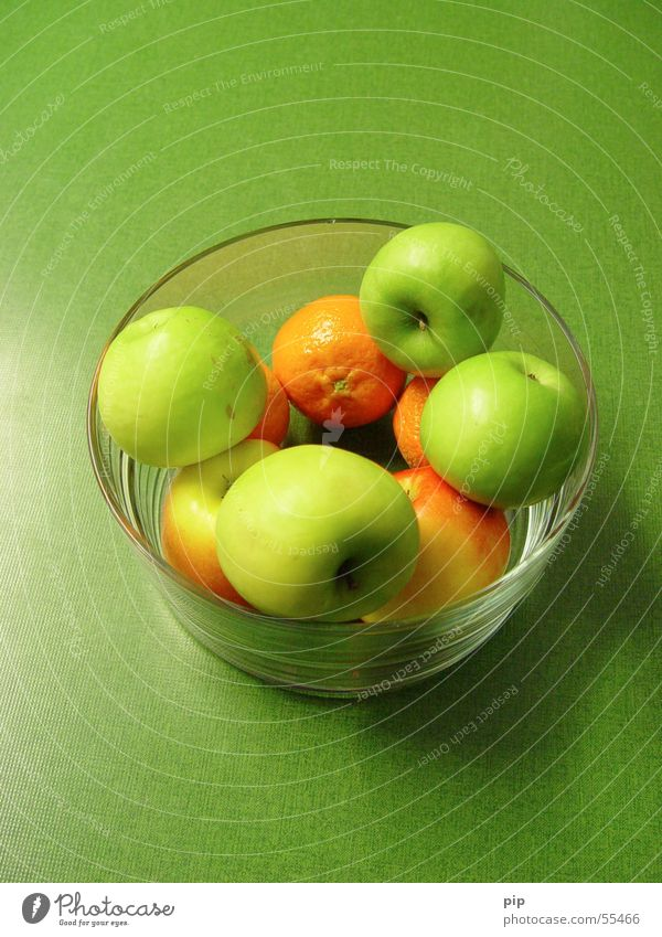 Green Nutrition Orange Healthy Glass Fruit Sweet Apple Anger Vitamin Bowl Juicy Green undertone Fruit bowl