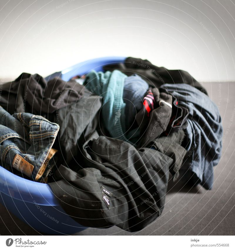 Homework | Collecting laundry Lifestyle Living or residing Clothing laundry tub Tub pile of laundry Heap Plastic Lie Dirty Dry Diligent Disciplined Cleanliness