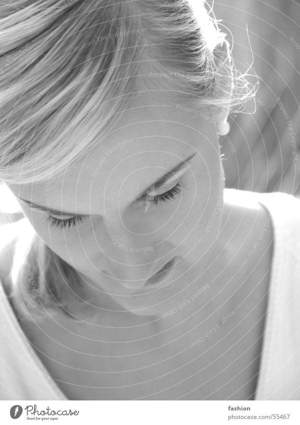 Bella 2 Portrait photograph Black White Summer Woman Blonde Light Black & white photo Sun Germany Looking earring