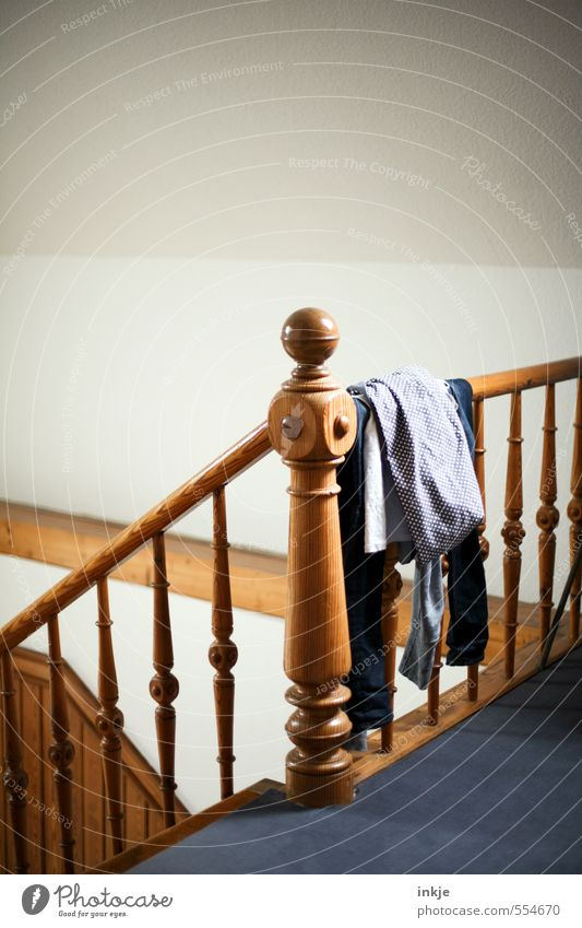 Interior design Wood Lie Flat (apartment) Room Stairs Living or residing Lifestyle Arrangement Authentic Clothing Staircase (Hallway) Banister Laundry Untidy