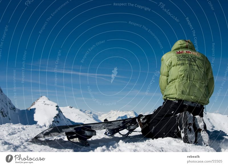 Human being Sky Vacation & Travel Blue Green Far-off places Winter Mountain Snow Freedom Rock Beautiful weather Adventure Alps Snowcapped peak Jacket
