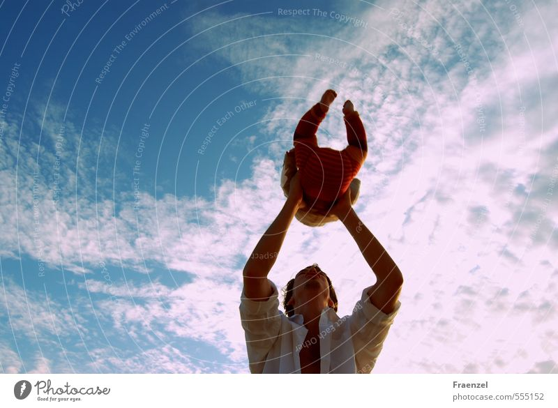 Skywards Baby Toddler Young man Youth (Young adults) Father Adults Infancy Nature Air Clouds Summer To swing Throw Happy Wanderlust Contentment Earth Future