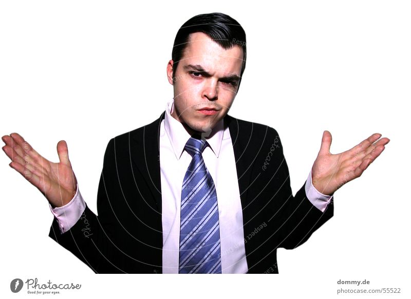 Man Hand Blue Black Eyes Mouth Business Funny Nose Ear Suit Guy Ask Tie Fellow Striped