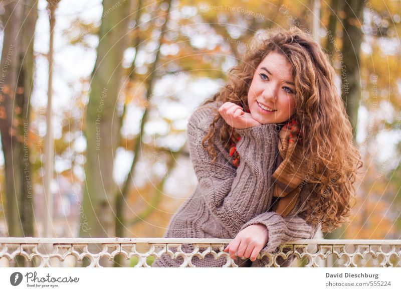 Human being Child Youth (Young adults) Green Beautiful Young woman White Tree Face Yellow Life Autumn Spring Feminine Happy Head