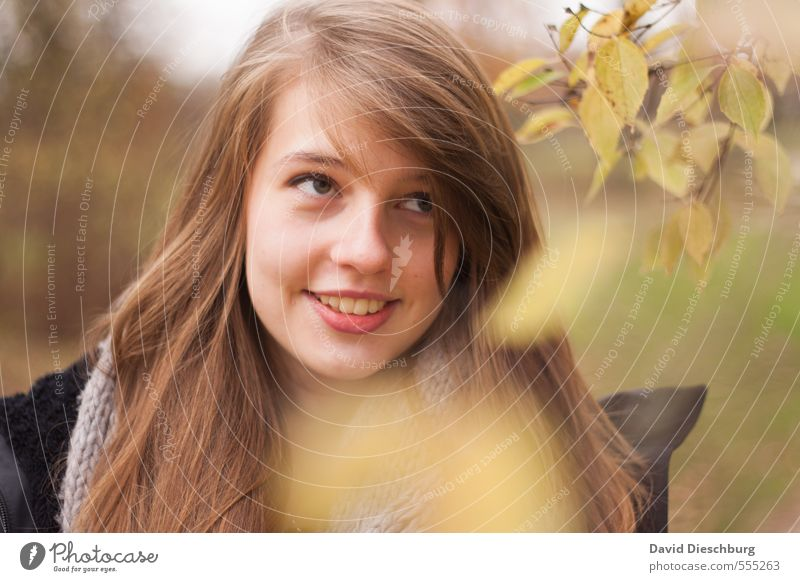 Kathi III Feminine Young woman Youth (Young adults) Sister Life Head Face 1 Human being 13 - 18 years Child Nature Spring Autumn Tree Leaf Park Forest Brunette