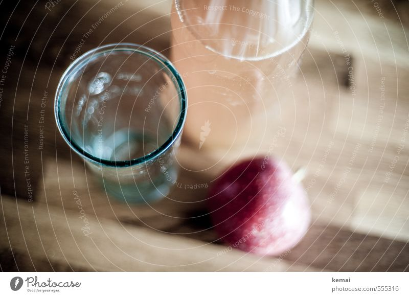 Kitchen | Apple juice Food Fruit Nutrition Beverage Cold drink Juice Bottle Glass work surface Wood Fresh Healthy Delicious Red Colour photo Subdued colour