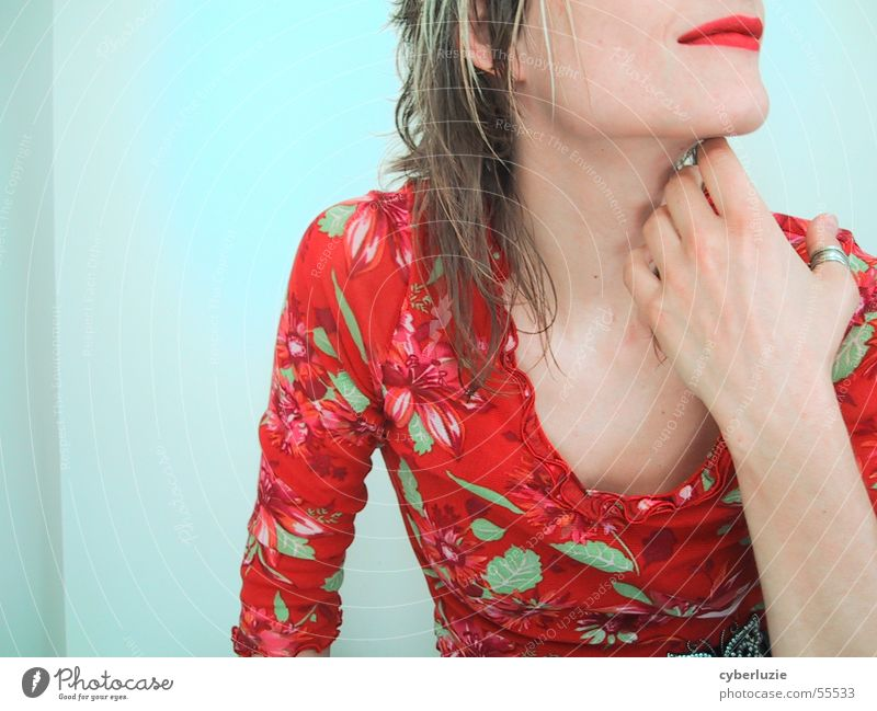 Woman Hand Red Sit T-shirt Lips Smooth Lipstick Chin Low neckline