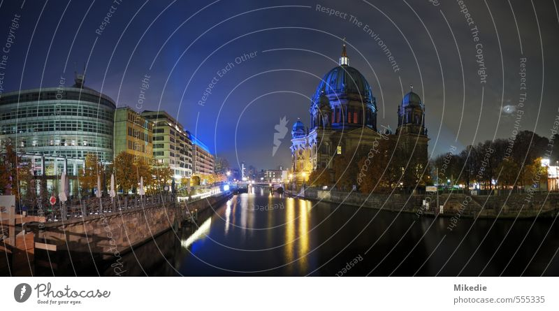 Spree Romanticism River Capital city Downtown Church Dome Manmade structures Architecture Tourist Attraction Romance Berlin Berlin Cathedral Panorama (Format)