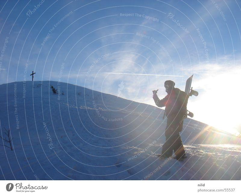 Sky Vacation & Travel Sun Winter Mountain Snow Peak Alps Upward Carrying Go up Snowboard Winter sports Ski tour Snowboarder Peak cross