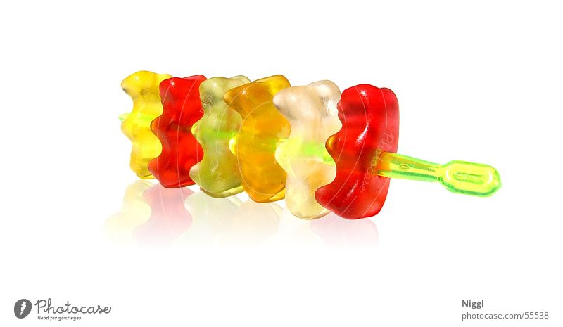 bear skewer Gummy bears Red Green White Yellow Sweet Gelatin Impaled Funny Orange sweets speared niggl