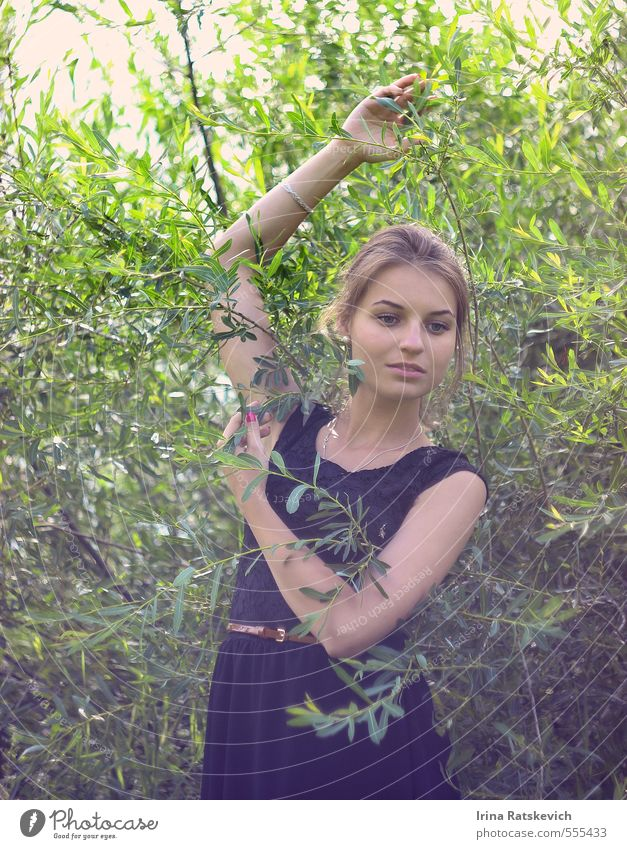 mood Young woman Youth (Young adults) Body Hair and hairstyles Face Arm Hand 18 - 30 years Adults Nature Sunlight Spring Summer Plant Tree Bushes Park Forest