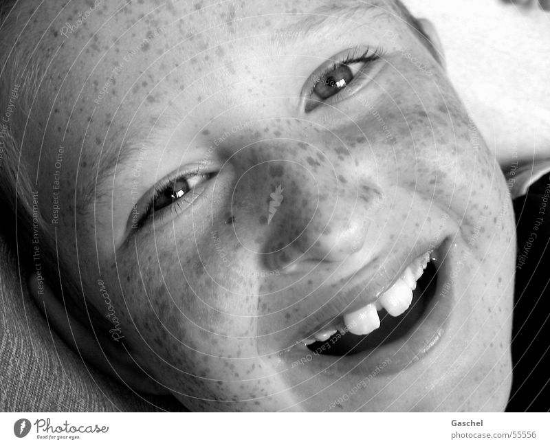 Janis Joy Child Boy (child) Eyes Teeth Smiling Laughter Happiness Happy Infancy Freckles Tooth space Black & white photo Interior shot Looking
