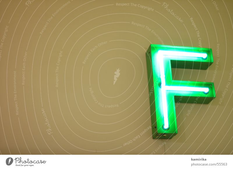 f*** Neon sign Neon light Green Electric Electronic Letters (alphabet) Lamp Light ef eff Illuminate