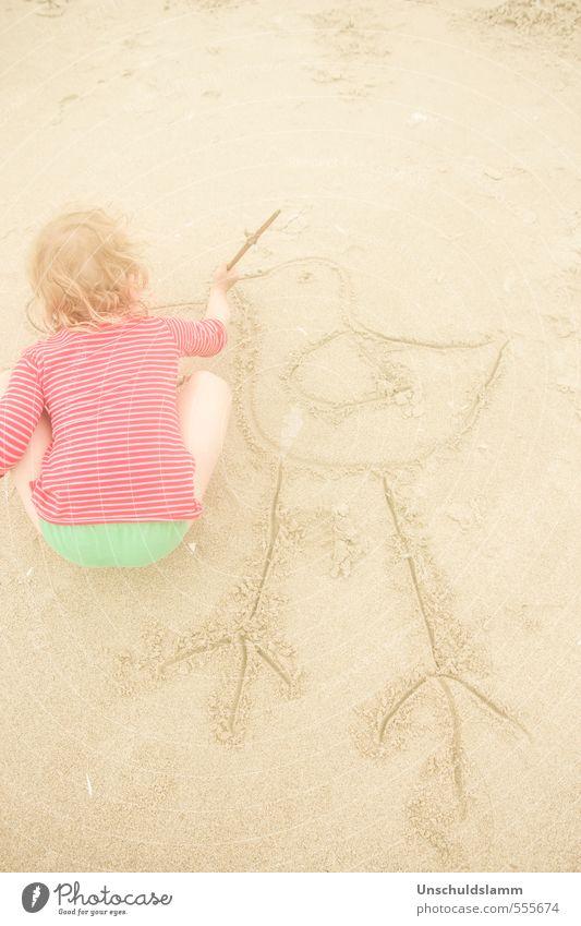 Human being Child Vacation & Travel Green Summer Red Girl Joy Animal Beach Life Playing Sand Bright Art Bird