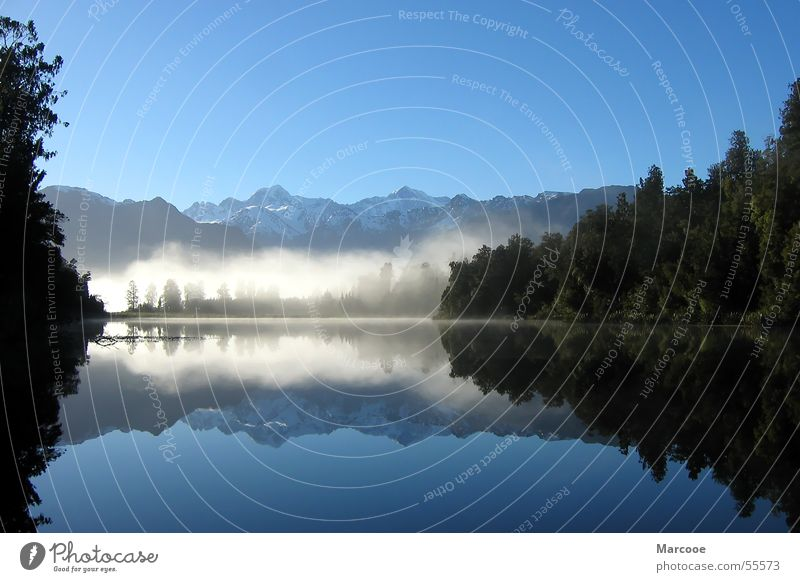 lake of mirrors Lake Forest Lake Matheson New Zealand Fog Water Mountain