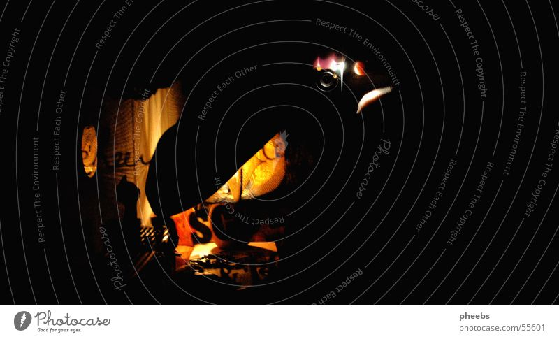 Hand Black Yellow Lamp Dark Room Camera Mirror Interior design