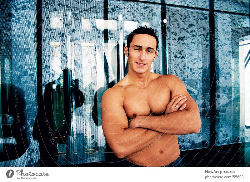 body Man Model Hand Macho Wall (building) Musculature Body Eroticism Glass Window pane Face Hair and hairstyles Blue Skin