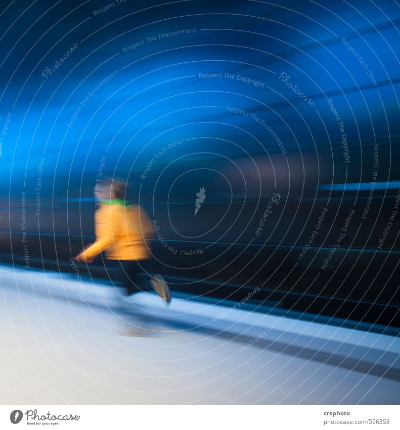 into the blue... Human being Body 1 Train station Movement Fitness Walking Jump Elegant Energy Blue Speed Line Colour photo Interior shot Copy Space right