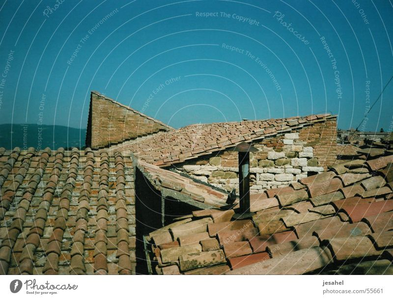 Blue Above Roof Italy Village Fragile Terracotta Bel Paese