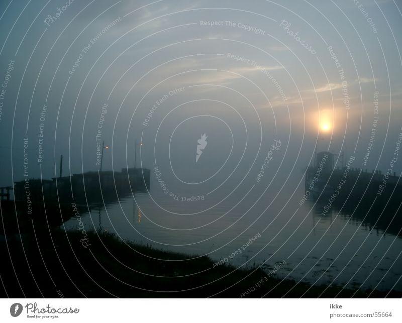 Water Sun Ocean Calm Fog Harbour Jetty Dusk Mole
