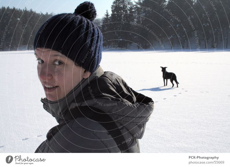 winter elfin Winter Leisure and hobbies In transit Hiking Woman Dog Snowscape Cold Ice Looking Eyes Face Sun Landscape rotary motion Beautiful weather Snapshot