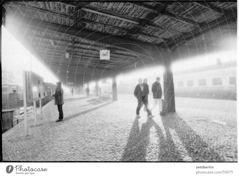railway station Commuter trains Oranienburg Railroad Platform Public transit Cobblestones Back-light Train station Commuter train station Vacation & Travel