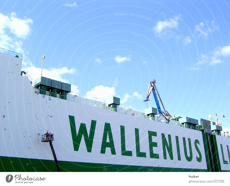 White Green Colour Watercraft Painter Port of Hamburg Ship's side Blohm + Voss dockyard Ship's varnisher