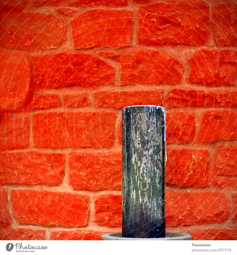 Trash! 2015 The candle. Living or residing Wall (barrier) Wall (building) Candle Candle holder Stone Red Black Seam Colour photo Interior shot Deserted