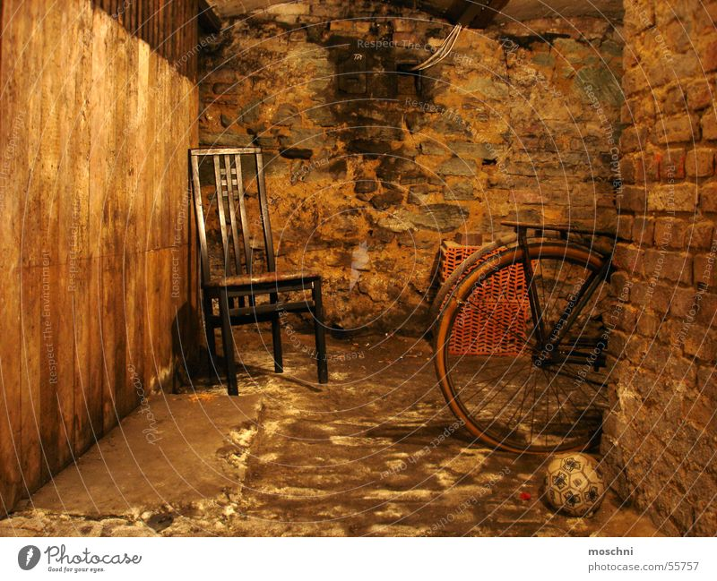 Old Bicycle Ball Chair Creepy Cellar Decompose Putrid