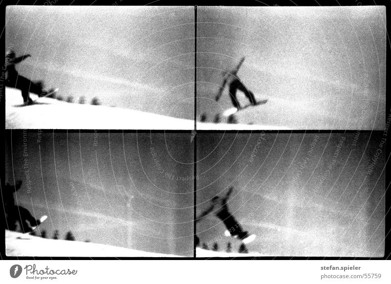 jump Black White Snowboard Jump Lomography Winter Ski run Trick Kick Gray Black & white photo 360 To fall Sky Movement Exterior shot 4 Rotation Posture