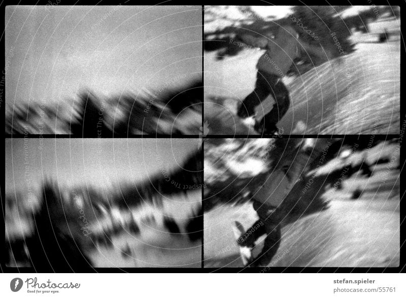 Jump 2 Black White Winter Snowboard Ski run Kick Speed Far-off places Gray Trick Black & white photo Lomography Movement Ski jump Tall Sky Motion blur Freestyle