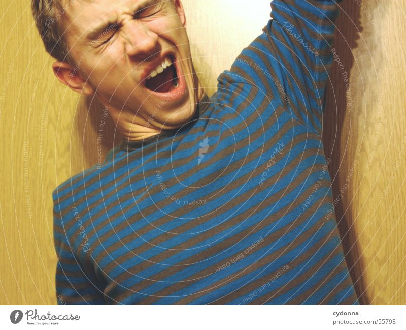 Human child X Man Portrait photograph Style Wall (building) Wood Hand Posture Sweater Striped Yawn Light Human being Wood grain Face Facial expression
