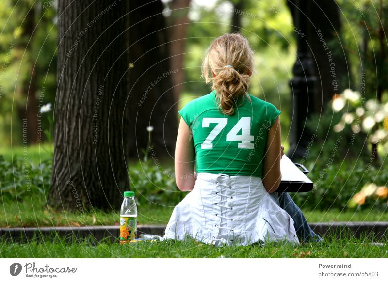 Young lady Woman Lady Blonde Green 74 Park Folder Tree Calm Jacket Loneliness Think Braids Relaxation Forest Corner White Beverage Hair and hairstyles Sit