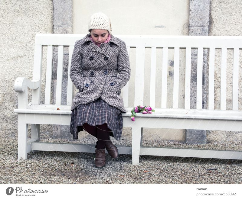 Human being Woman Youth (Young adults) Loneliness Young woman Adults Cold Sadness Love Feminine Gloomy Sit Grief Rose Bench Bouquet